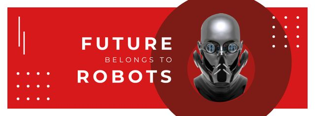 Futuristic Android robot model Facebook cover – шаблон для дизайну
