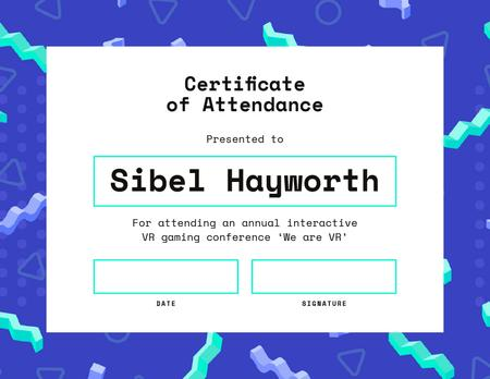 VR gaming conference Attendance in blue Certificate – шаблон для дизайна