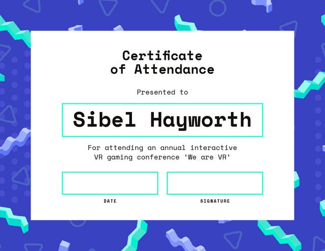 Modèle de visuel VR gaming conference Attendance in blue - Certificate