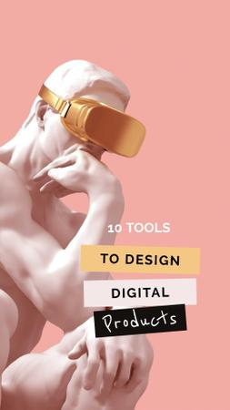 Template di design VR glasses on marble sculpture Instagram Story
