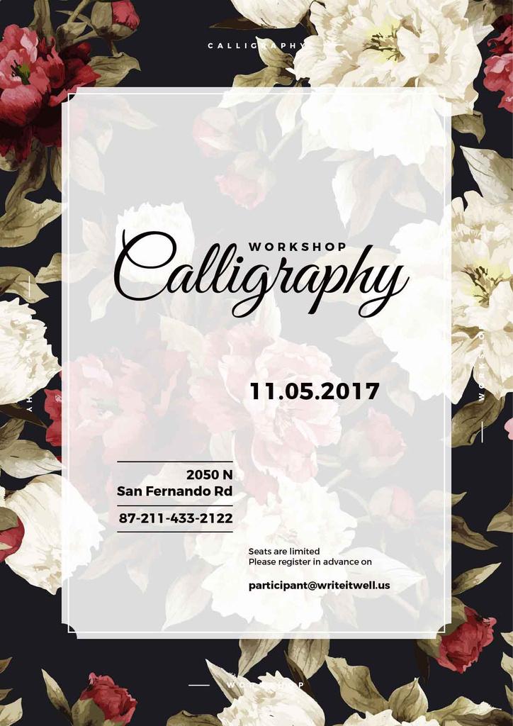 calligraphy workshop poster with flowers — Crea un design