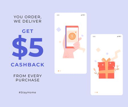 #StayHome Cashback services Screens with gifts Facebookデザインテンプレート