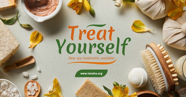 Skin Treatment Offer Natural Oil and Petals Facebook AD Design Template