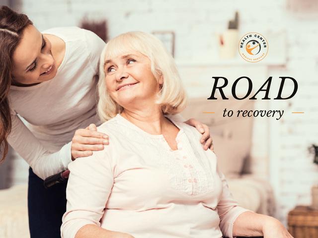 Plantilla de diseño de Caring about Senior Woman in Wheelchair Presentation