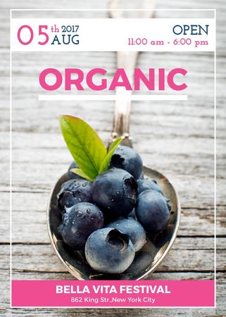 Plantilla de diseño de Blueberries for Organic food festival Invitation