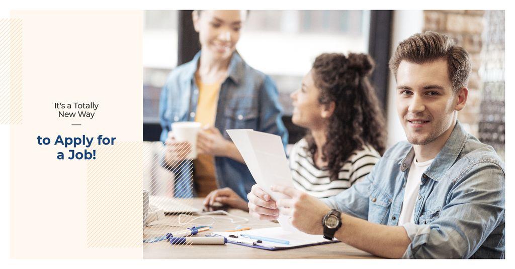 Modèle de visuel Young people waiting for job interview - Facebook AD