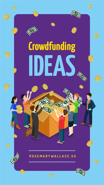 Plantilla de diseño de People filling cardboard box for crowdfunding Instagram Story