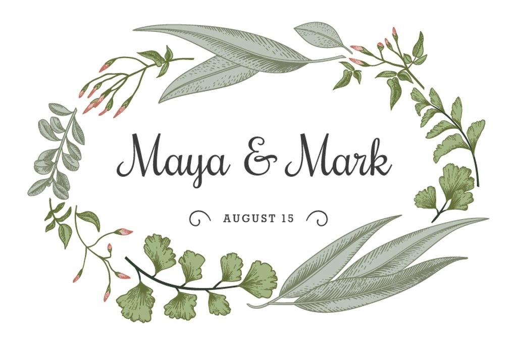 Wedding announcement in green Leaves frame — Створити дизайн