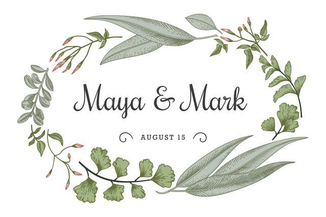 Ontwerpsjabloon van Label van Wedding announcement in green Leaves frame