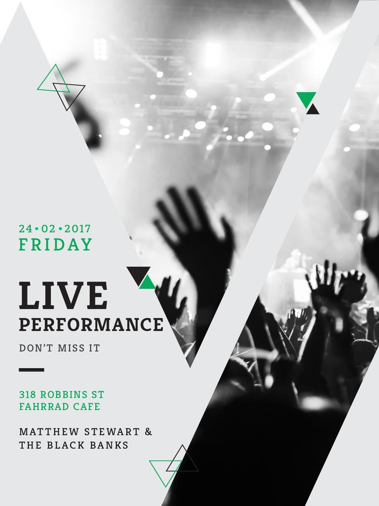 Plantilla de diseño de Live Performance announcement Crowd at Concert Poster US