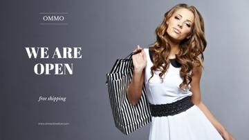 opening banner for store  with young woman holding shopping bags