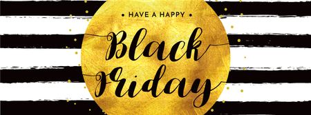 Black Friday Sale in Golden Frame Facebook cover – шаблон для дизайну