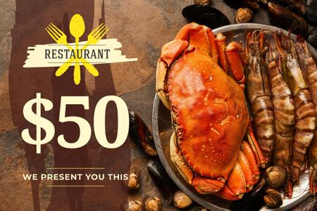 Restaurant Offer with Seafood on Plate Gift Certificate Design Template