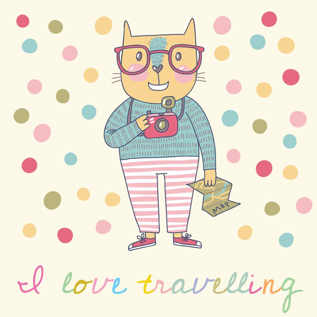 Ontwerpsjabloon van Instagram AD van Cute Cat Travelling with camera