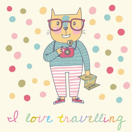 Plantilla de diseño de Cute Cat Travelling with camera Instagram AD