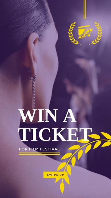 Plantilla de diseño de Film Festival giveaway with actress Instagram Story