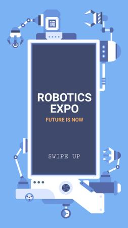 Robotics Exhibition Ad Automated Production Line Instagram Story Tasarım Şablonu
