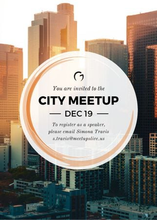 City meetup announcement on Skyscrapers view Invitationデザインテンプレート