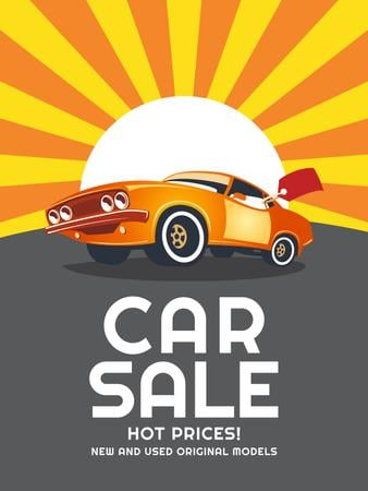 Plantilla de diseño de Car Sale Advertisement Muscle Car in Orange Poster US