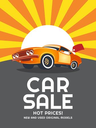 Car Sale Advertisement Muscle Car in Orange Poster USデザインテンプレート