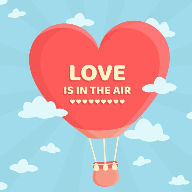 Ontwerpsjabloon van Animated Post van Hot Air Balloon Flying in the Sky