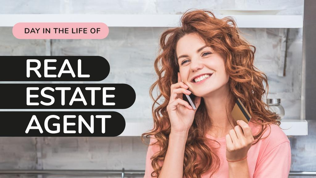 Real Estate Agent Woman Talking on the Phone —デザインを作成する