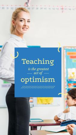 Smiling Teacher in classroom Instagram Story Design Template