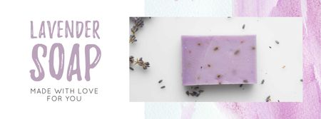 Plantilla de diseño de Handmade Soap Bar with Lavender Facebook cover