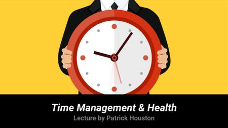 Time Management Lecture Man Holding Clock Full HD video Tasarım Şablonu