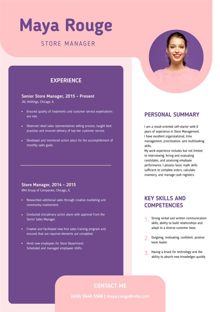 Ontwerpsjabloon van Resume van Store manager skills and experience