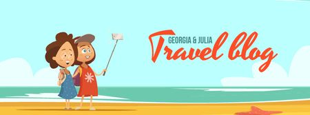 Ontwerpsjabloon van Facebook Video cover van Travel Bloggers Friends Taking Selfie
