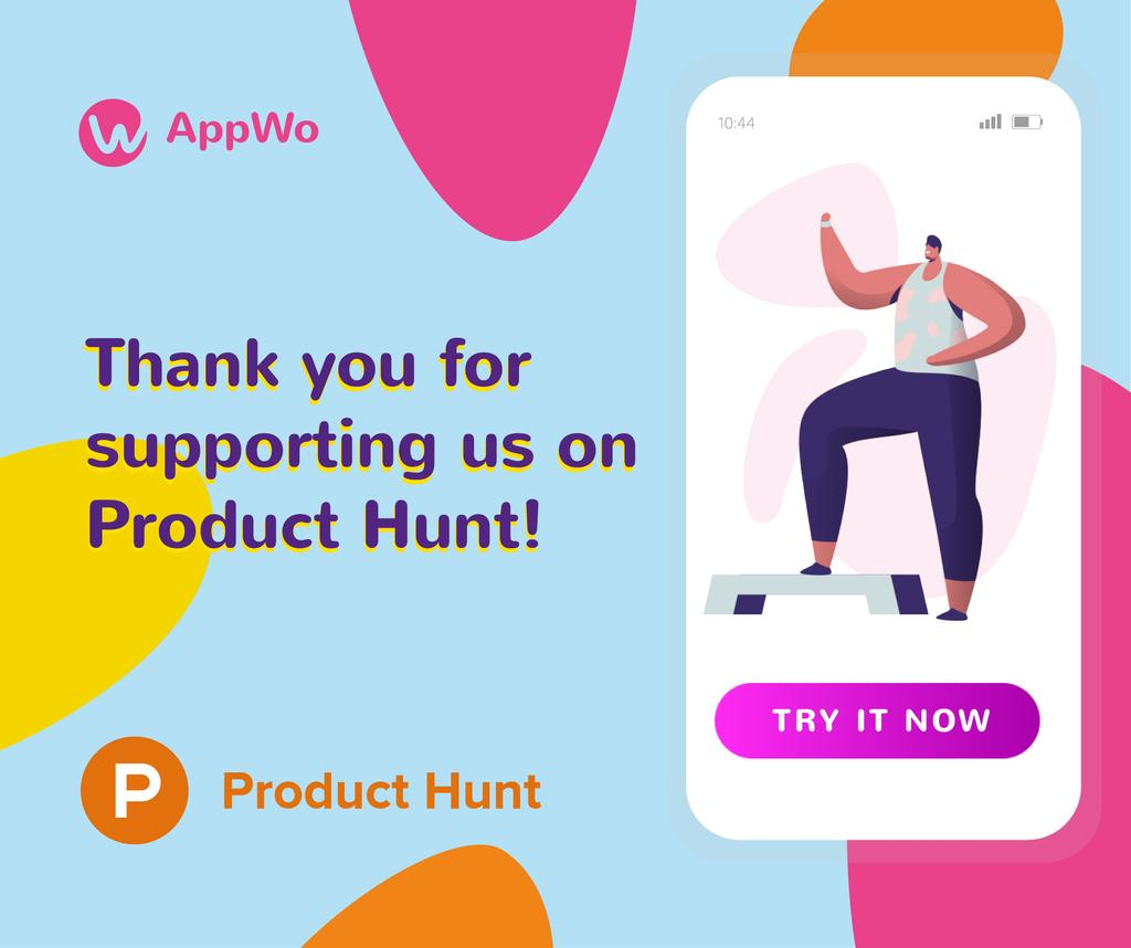 Ontwerpsjabloon van Facebook van Product Hunt Promotion Fitness App Interface on Screen