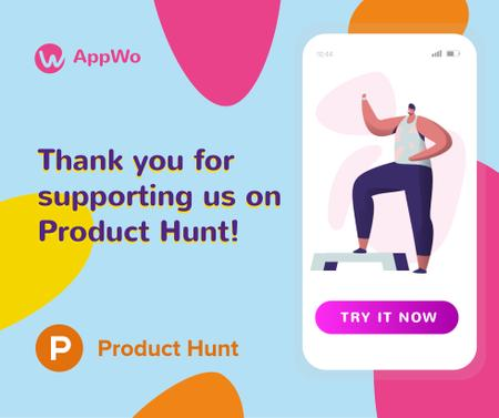 Product Hunt Promotion Fitness App Interface on Screen Facebook – шаблон для дизайна
