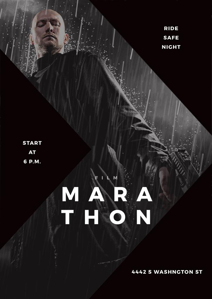 Film Marathon poster with dangerous man holding gun — Create a Design