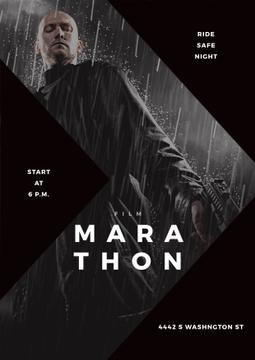 Film Marathon poster with dangerous man holding gun