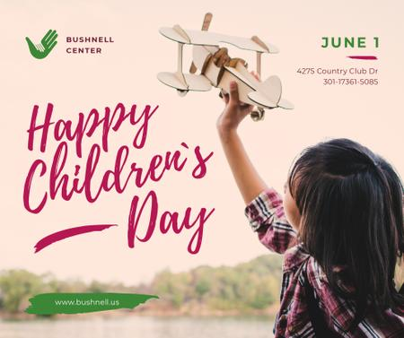 Child playing with toy plane on Children's Day Facebook Modelo de Design