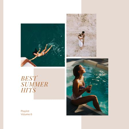 Ontwerpsjabloon van Album Cover van Couple by the Pool in Summer