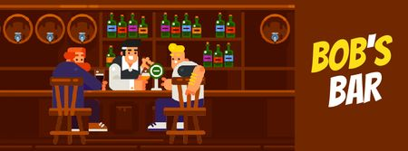 Men enjoying drinks at the bar Facebook Video coverデザインテンプレート