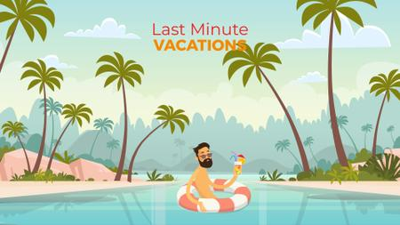 Designvorlage Vacation Theme Man with Cocktail Resting in Lifesaver für Full HD video
