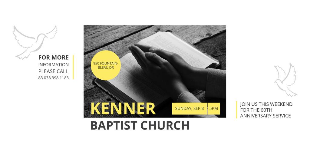 Prayer Invitation Hands on Bible Book Image Design Template