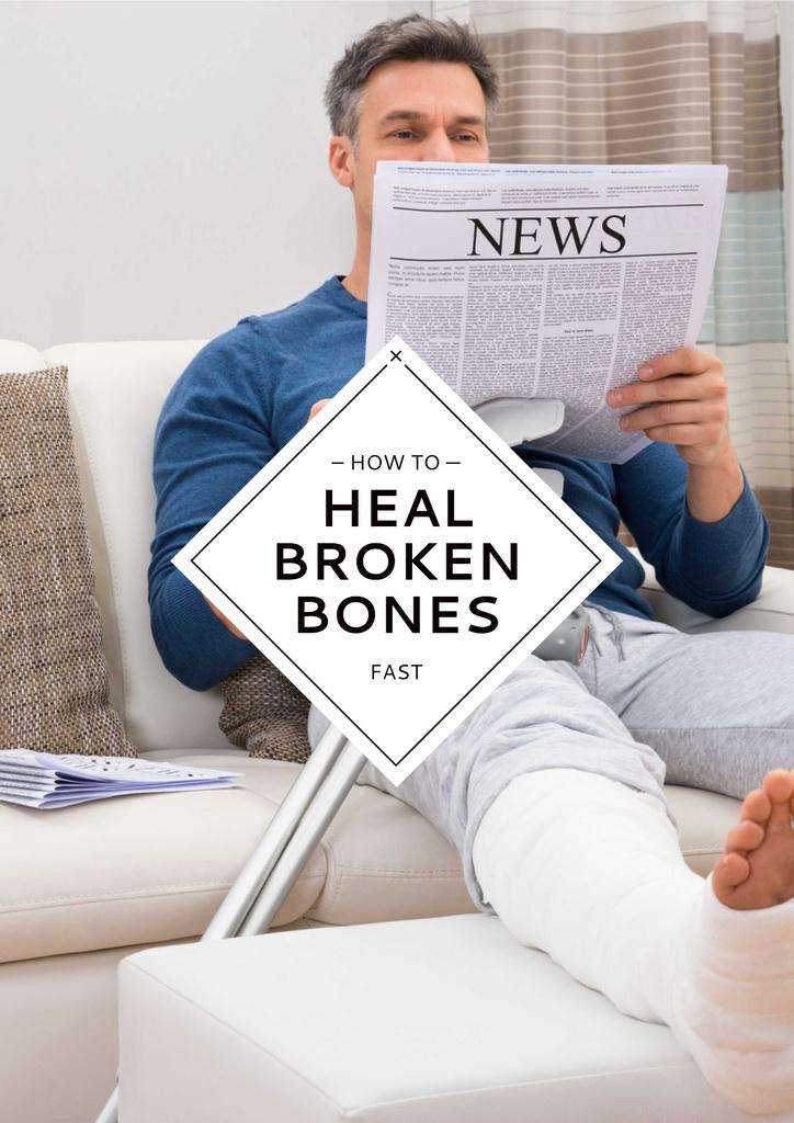 Man with broken bones sitting on sofa — Створити дизайн