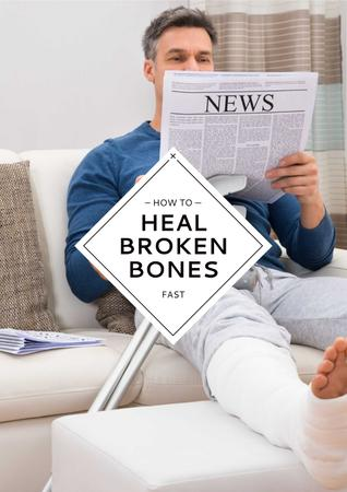 Ontwerpsjabloon van Poster van Man with broken bones sitting on sofa