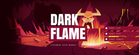 Game Streaming Ad with Flaming Cave Twitch Profile Banner Modelo de Design