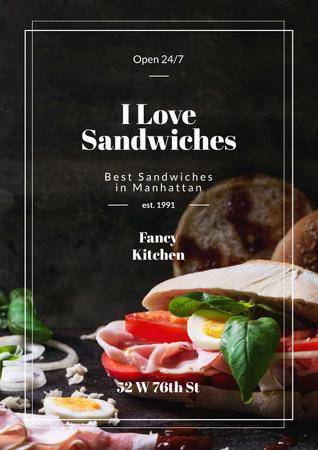 Restaurant Ad with Fresh Tasty Sandwiches Poster Tasarım Şablonu