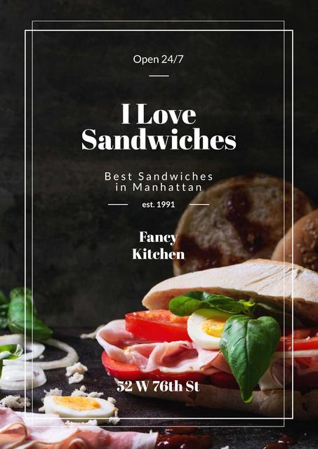 Restaurant Ad with Fresh Tasty Sandwiches Poster Modelo de Design