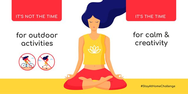 Template di design #StayAtHomeChallenge Woman meditating at home during Quarantine Twitter