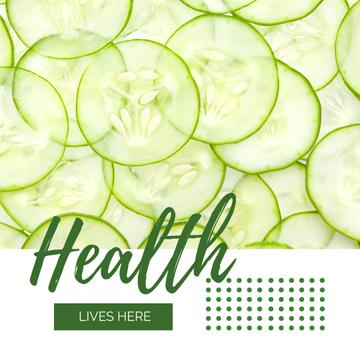Healthy Food Sliced Green Cucumbers | Instagram Ad Template