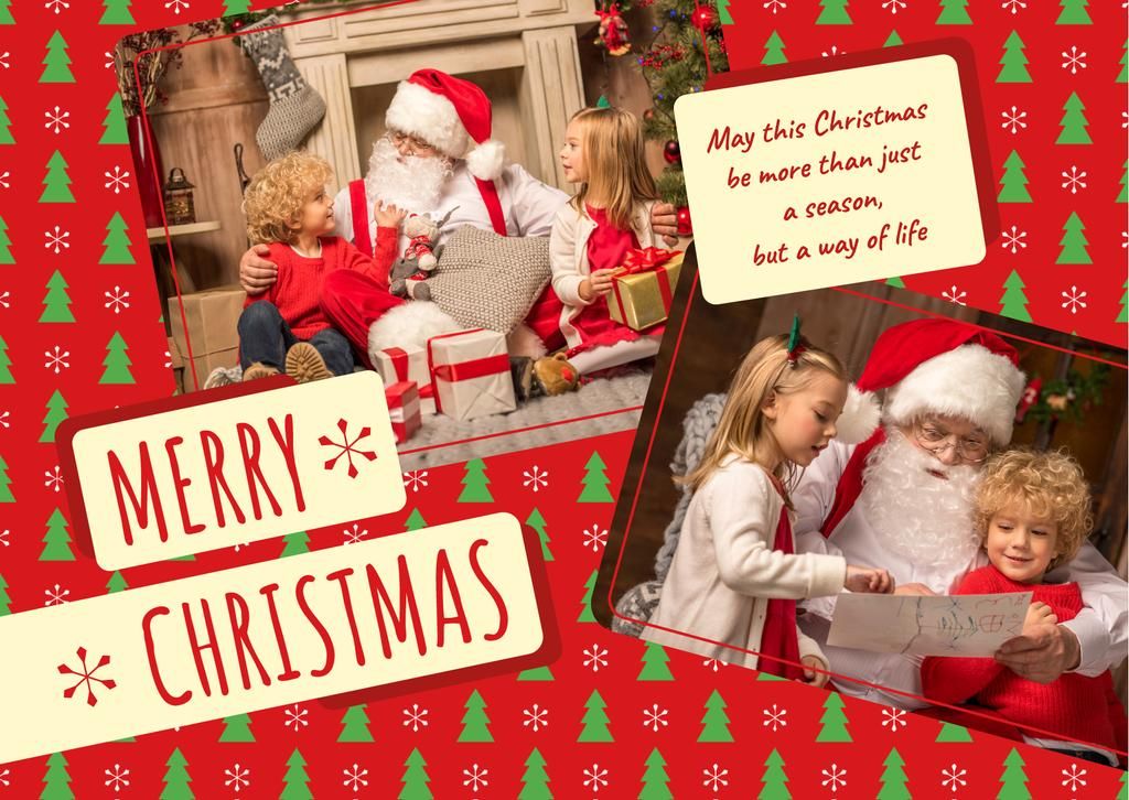 Merry Christmas Greeting Kids with Santa — Créer un visuel