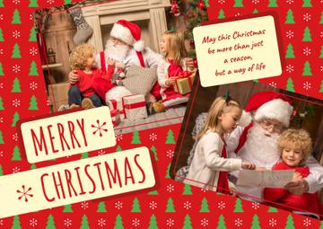 Merry Christmas Greeting Kids with Santa