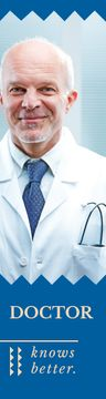 Confident Doctor with Stethoscope in Blue | Wide Skyscraper Template